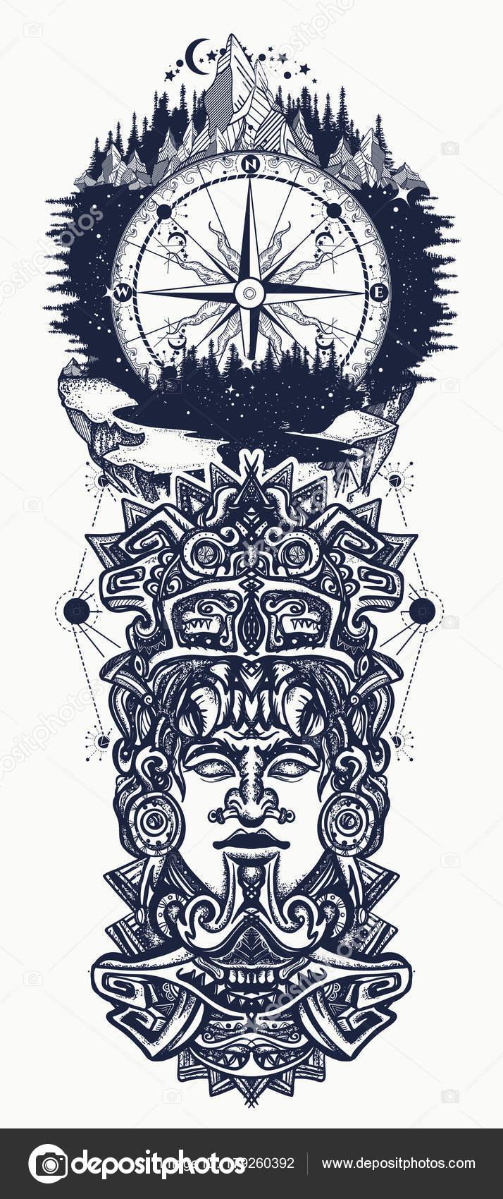 Fotos Civilizacion Azteca Antiguo Totem Azteca Montañas Una