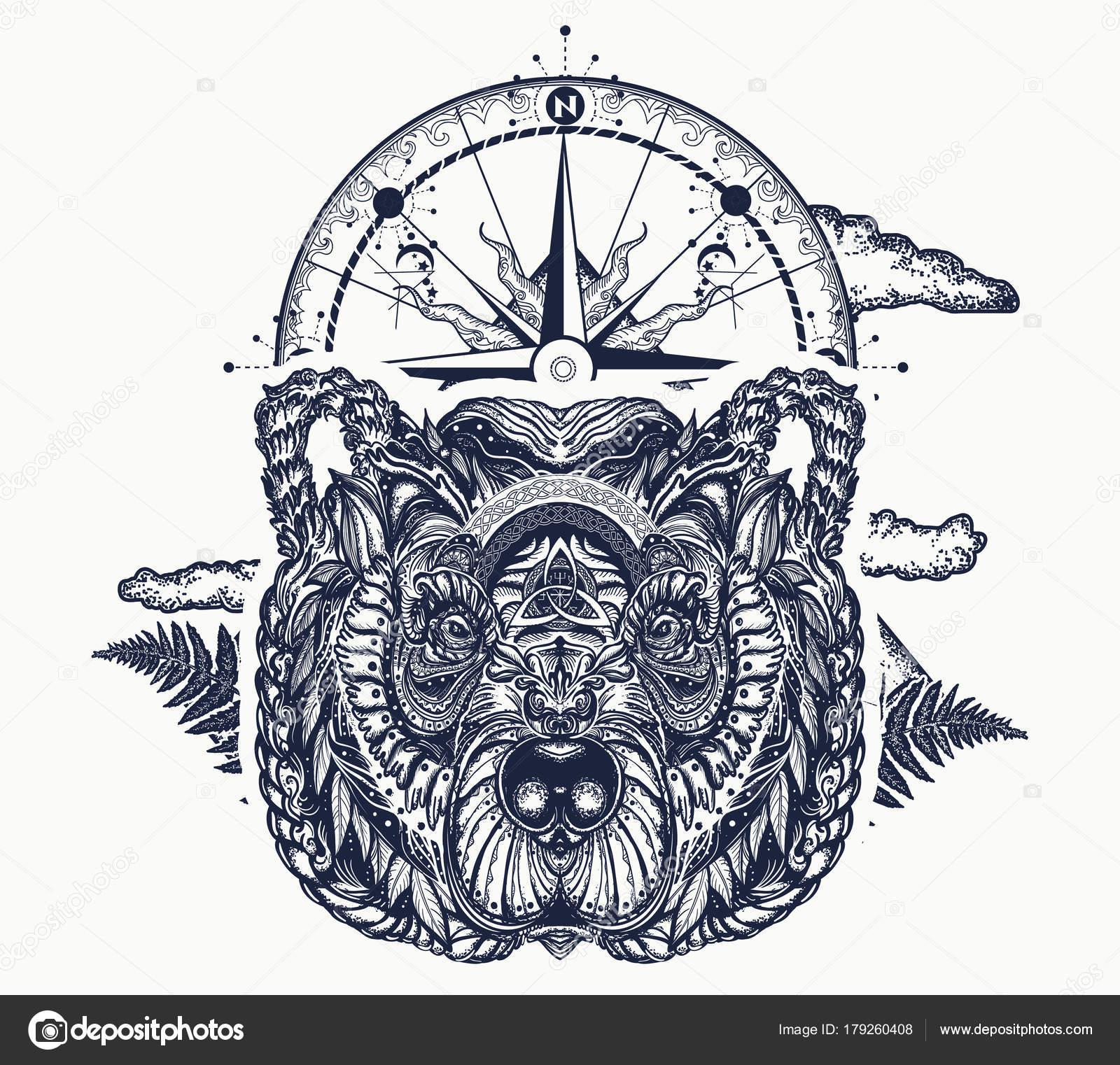 Tragen Und Kompass Tattoo Und Shirt Design Nördlichen Grizzlybär ...