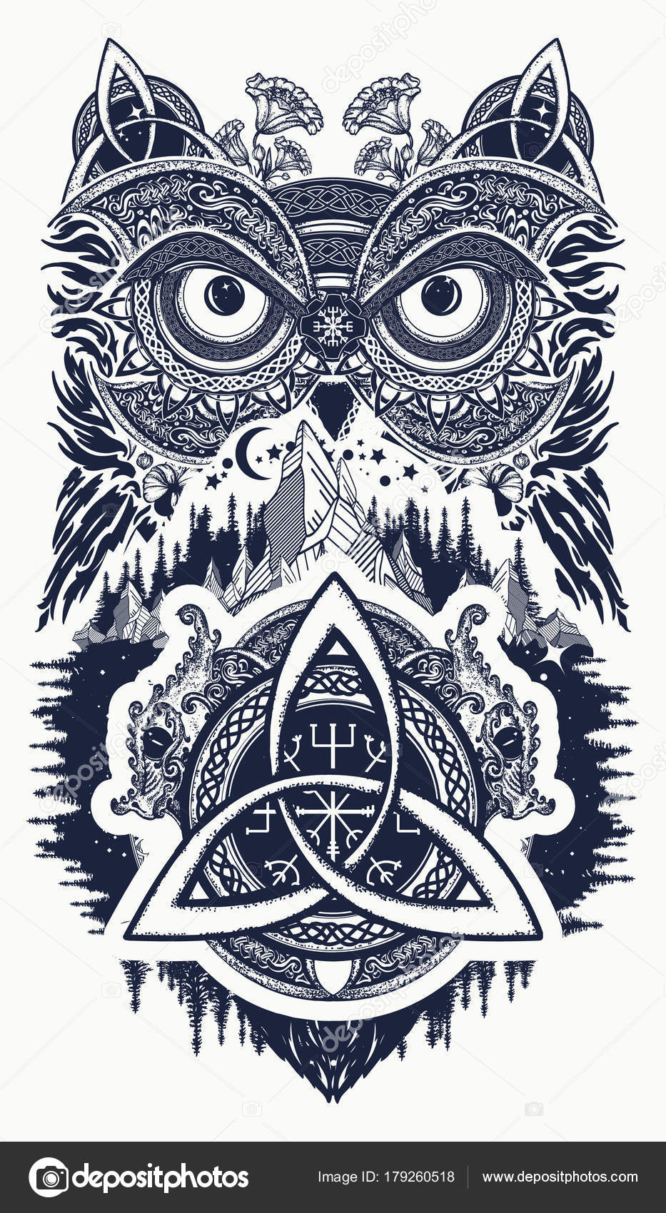 Sowa I Smoki Celtic Tatuaż Sztuki Sowa W Stylu Etnicznym