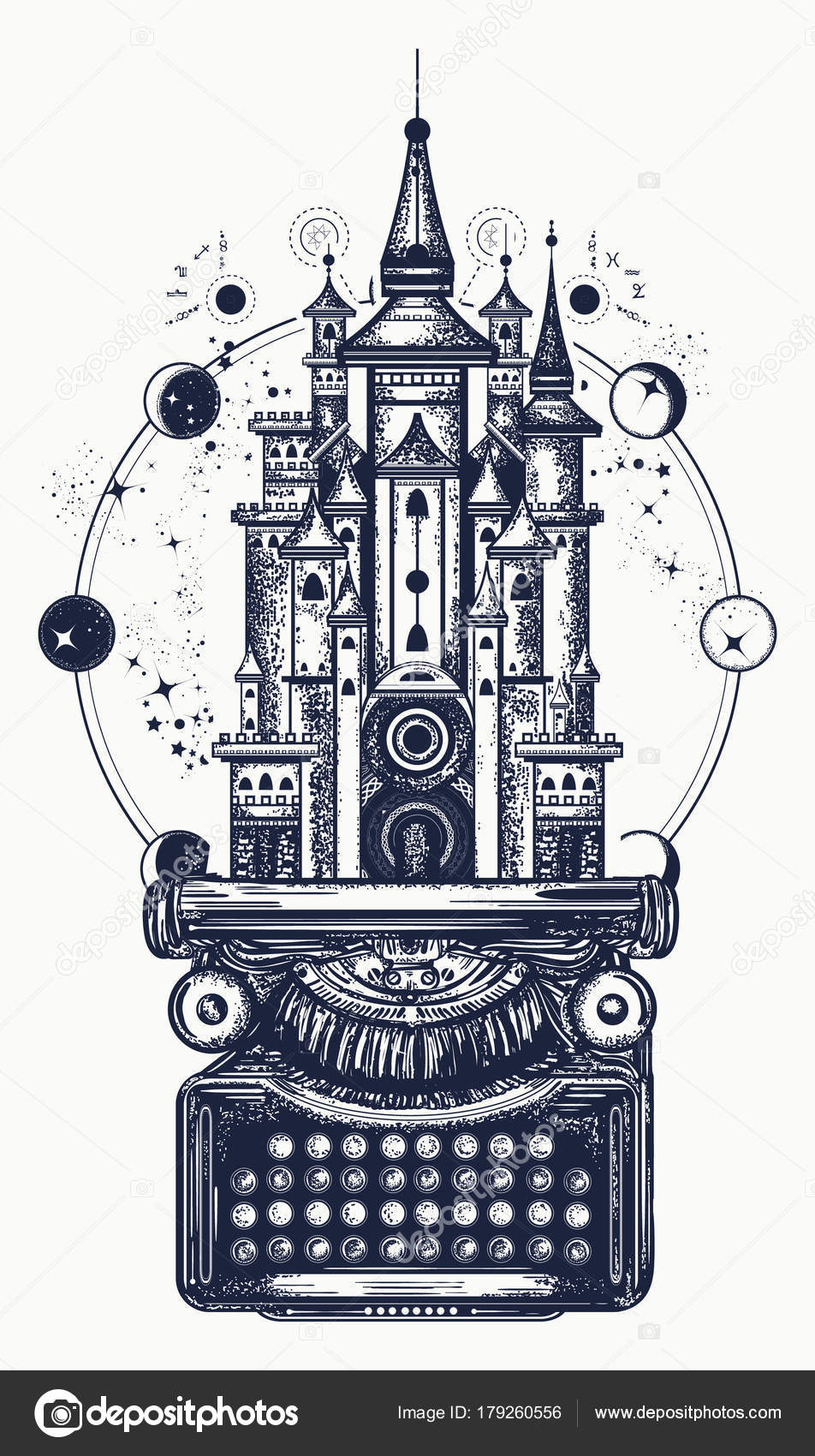 Typewriter and magic castle tattoo  Symbol of imagination — Stock