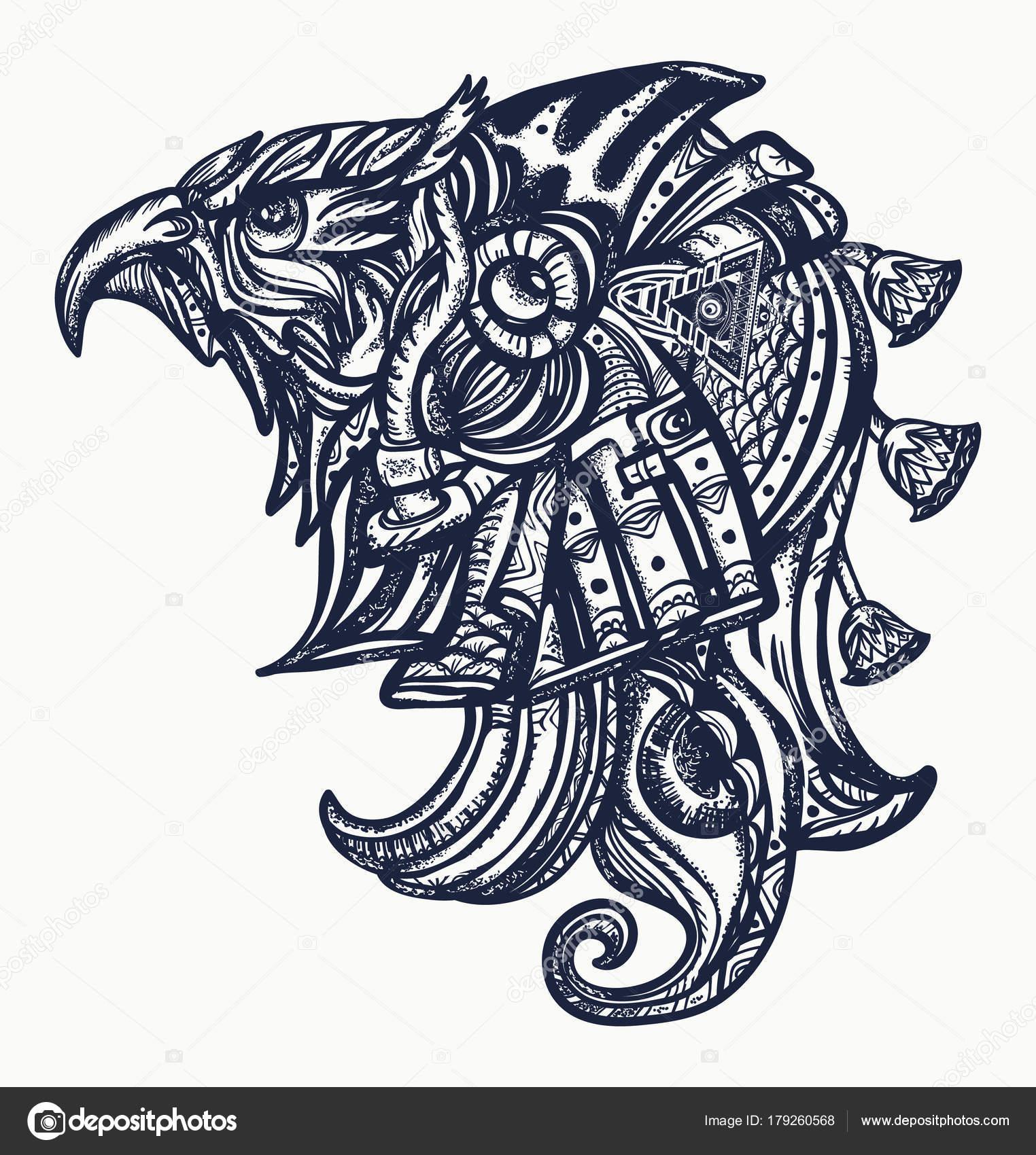 07bdb4bef Ancient Egypt tattoo and t-shirt design.Horus gods, eye of Ra, symbol of  ancient civilization. Horus head tattoo art — Vector by intueri