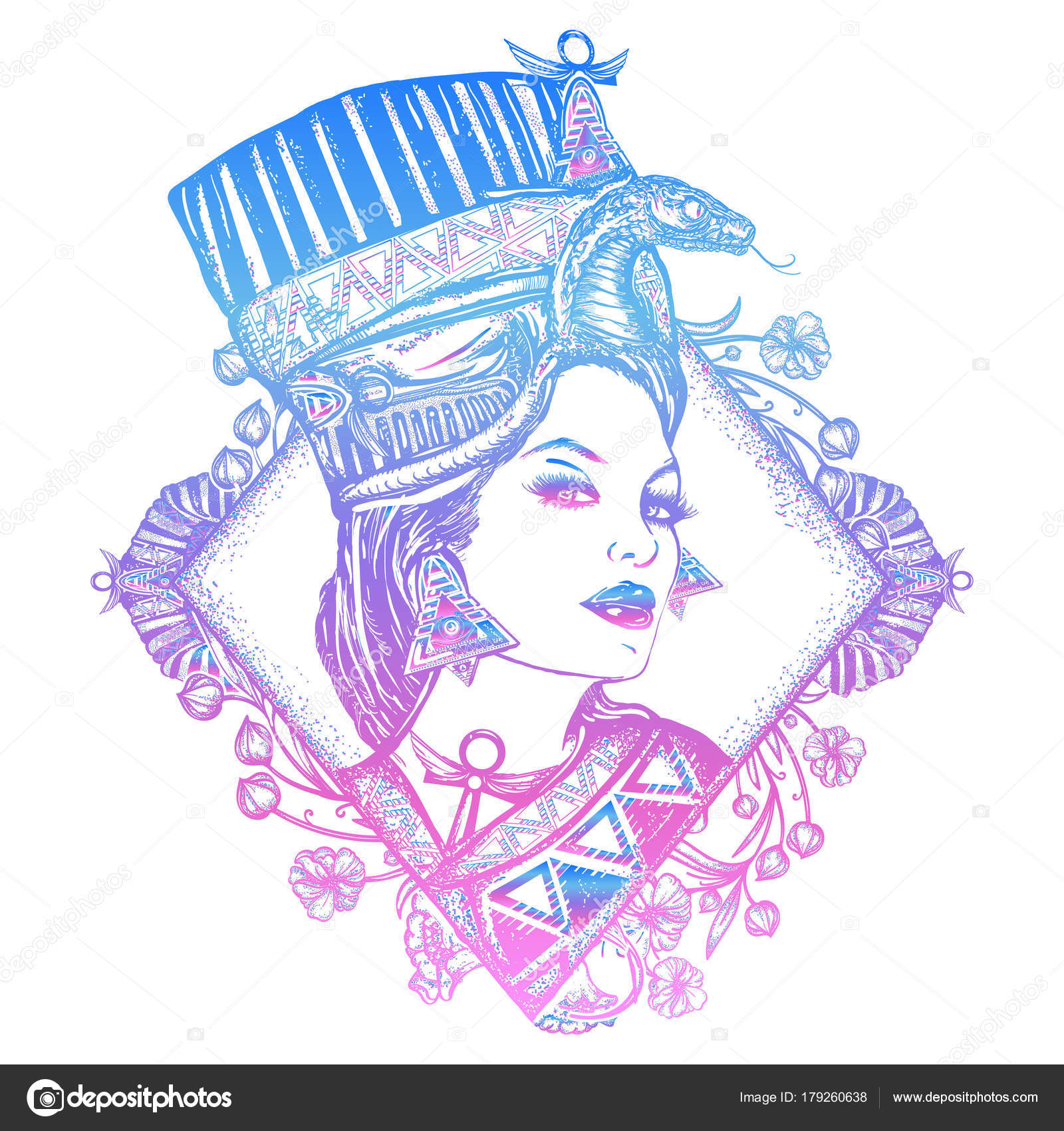 e7e78f1f1 Ancient Egypt color tattoo. Queen of Egypt Nefertiti– stock illustration