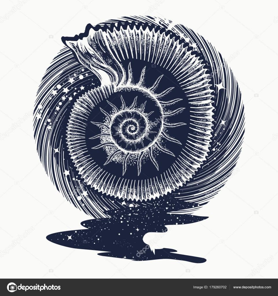 ammonites et tatouage de fleurs de style art nouveau symbole de la science image vectorielle. Black Bedroom Furniture Sets. Home Design Ideas