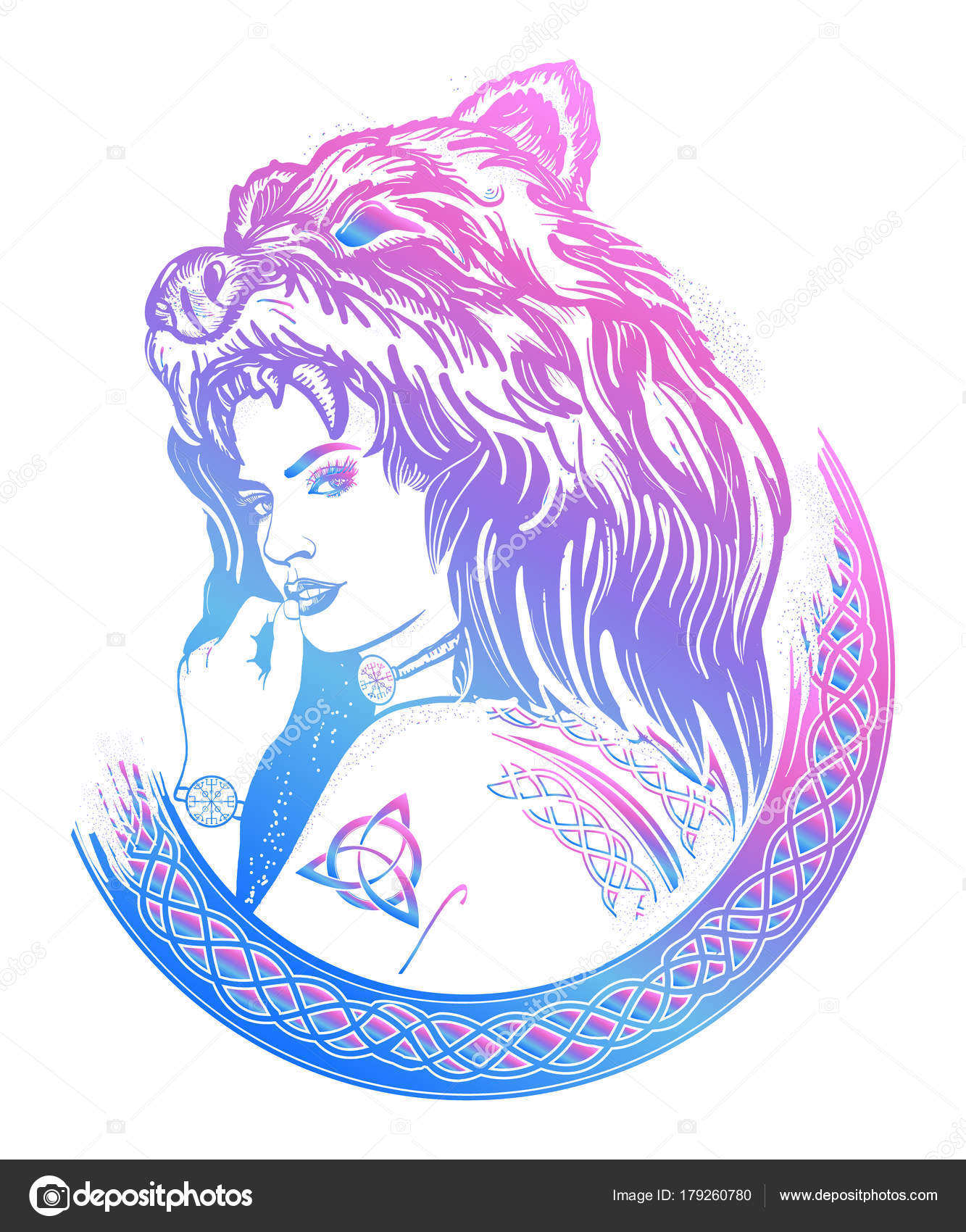 Warrior woman color tattoo tribal strong woman stock vector warrior woman color tattoo tribal strong woman in a skin of a bear symbol of scandinavia valhhala valkyrie girl of the north biocorpaavc