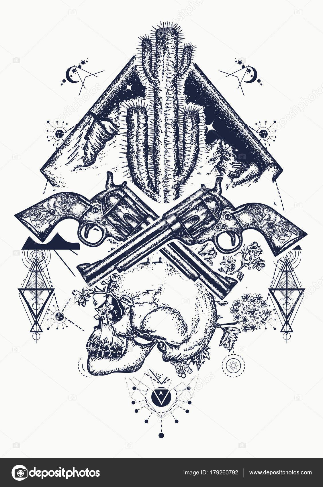 Arte del salvaje oeste. Cruzado de cráneo humano, las montañas ...