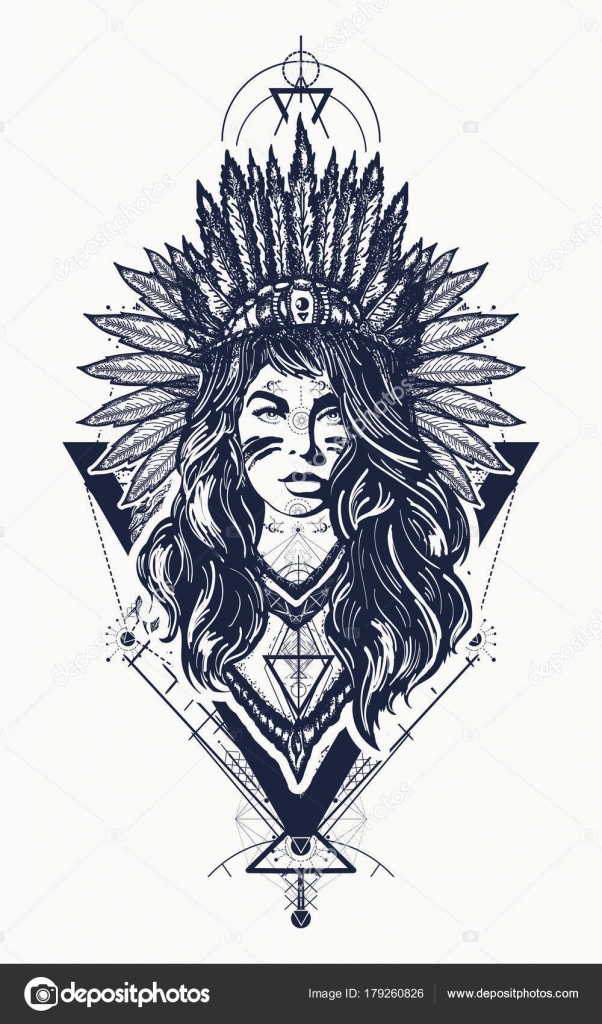 Tribal Indian Woman Tattoo And T Shirt Design Young Woman Stock