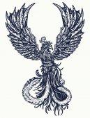 Kouzlo tepla ptáků tetování a tričko design. Symbolem obrození