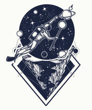 Astronaut in deep space t-shirt design. Diver floats in space