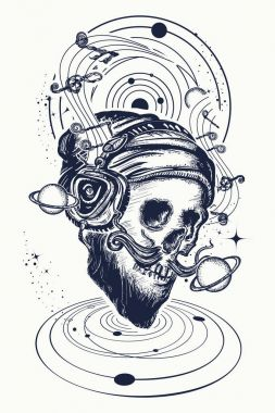 Human skull and universe tattoo and t-shirt design