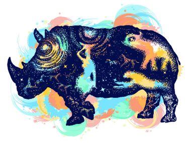 Rhinoceros color tattoo art. Symbol Africa, savannah, travel