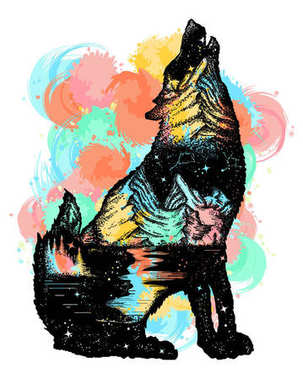 Wolf double exposure color tattoo art. Wolf howls, mountain