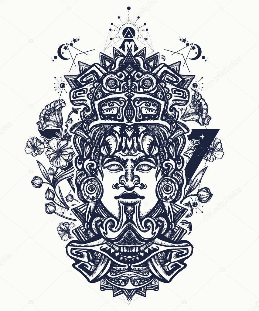 Diseño Del Rainbow Warrior Iii: Diseño Del Tatuaje Camiseta Maya Arte