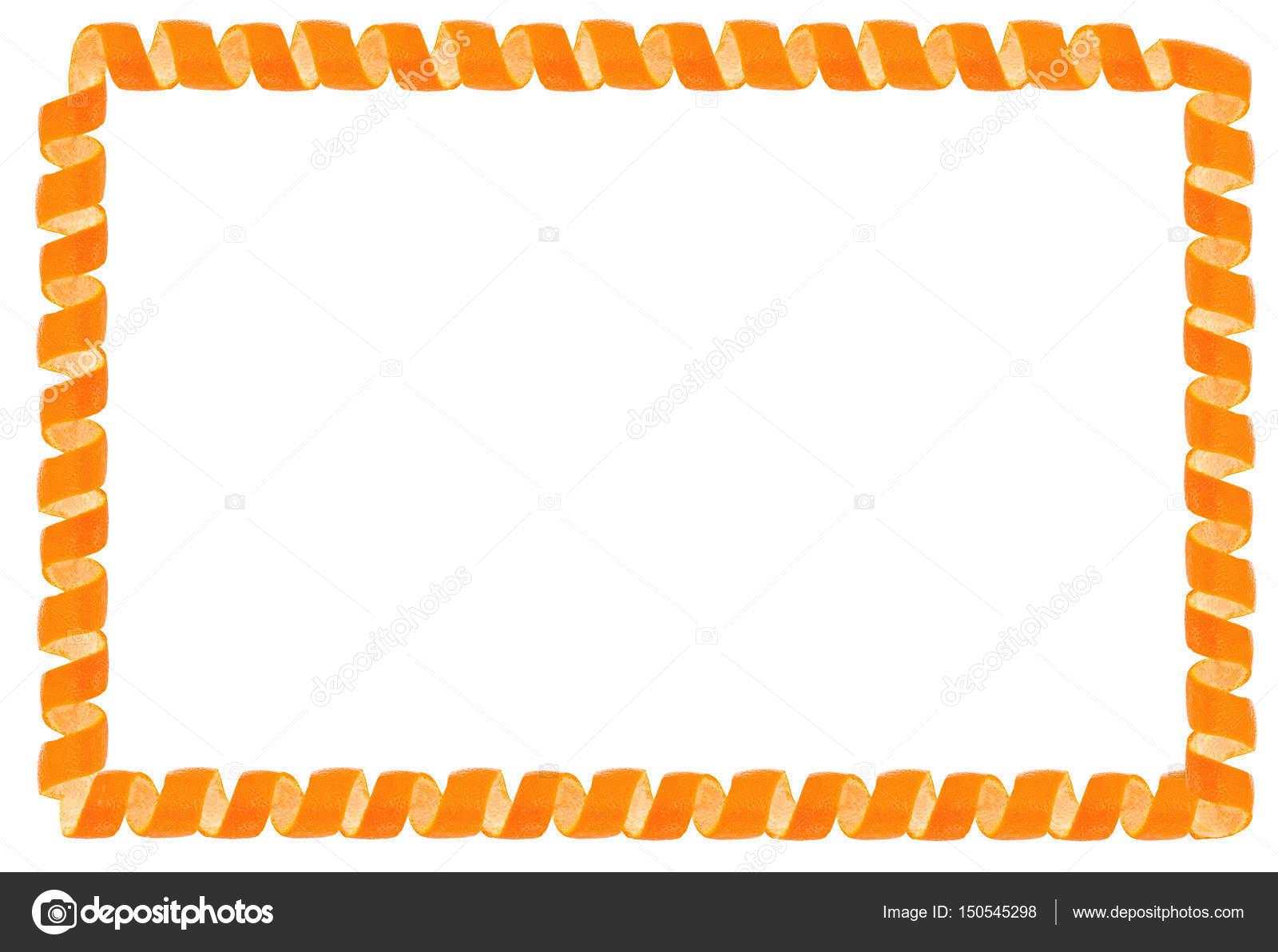 Curl Mandarinenschale als Rahmen. Isoliert auf weißem Hintergrund ...