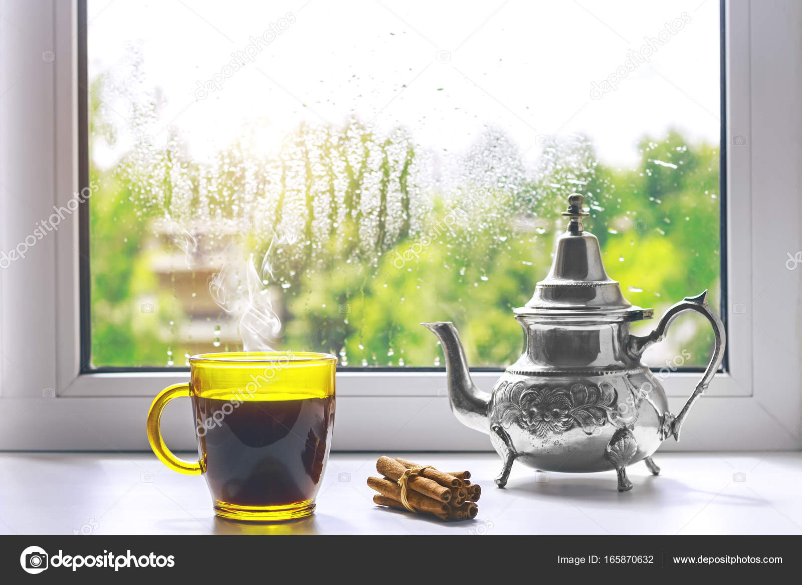 Lovely Cup Of Hot Coffee On The Windowsill. Outside The Window The Rain. U2014 Photo  By IgorBukhlin