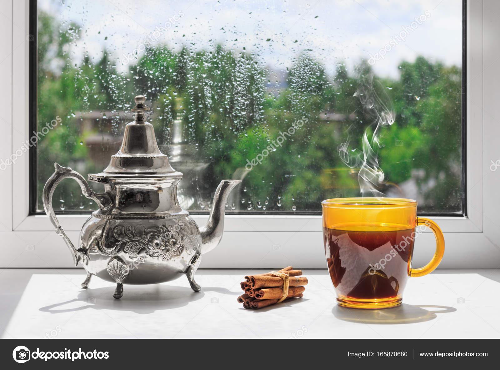 Cup Of Hot Coffee On The Windowsill. Outside The Window The Rain. Rainy  Weather Behind The Window. U2014 Photo By IgorBukhlin