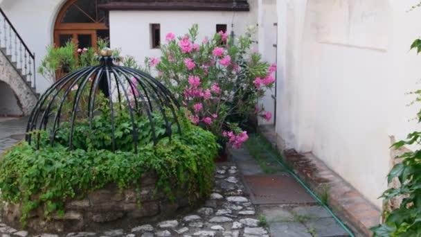 Parete Dacqua In Casa : Storico del cortile. casa storica con bellissimi fiori e pozzo d