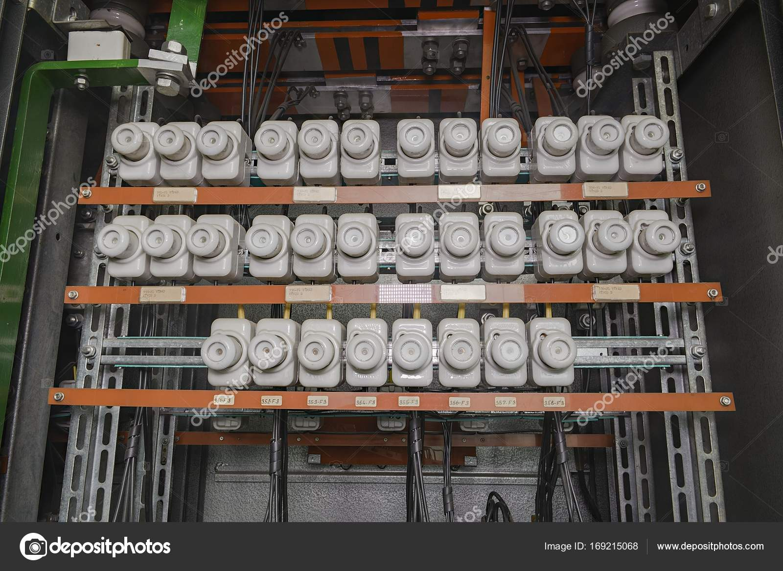 an old fuse box with cables old electrical panel, electrical boxan old fuse box with cables old electrical panel, electrical box, control panel\u2013 stock image