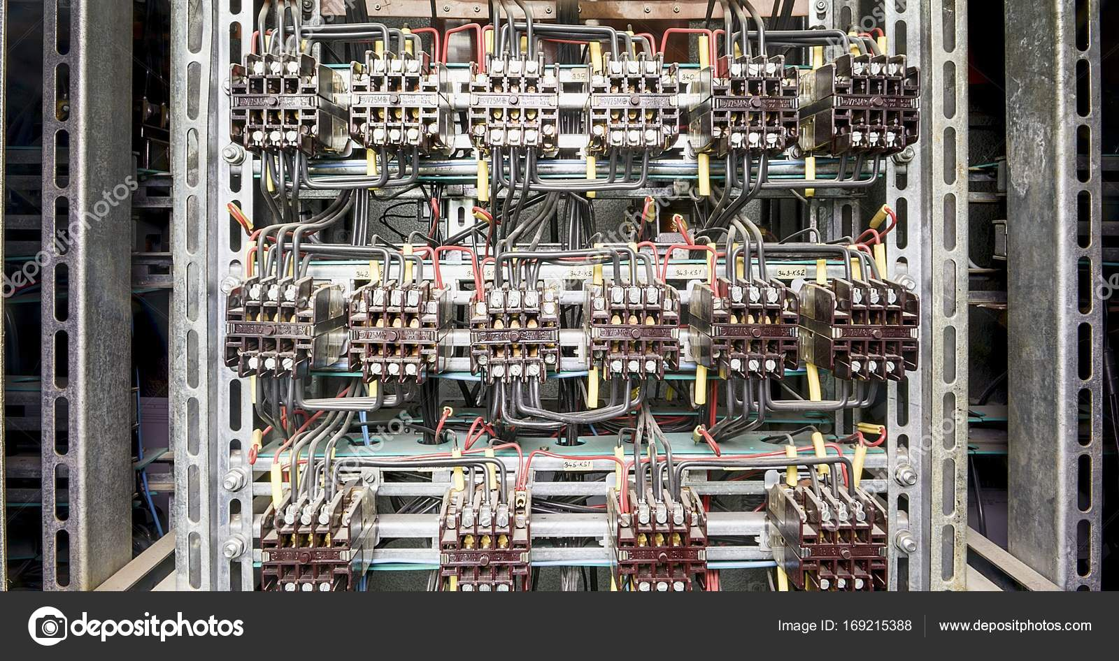 Electric service panel with many 3 phase contactors — Stock Photo ...