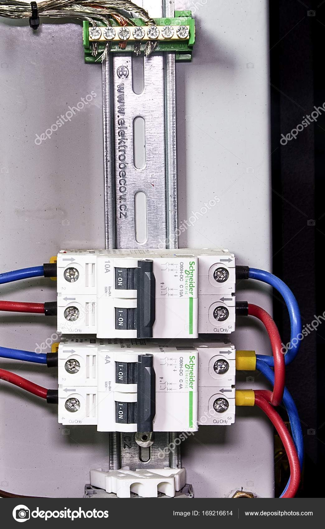 Schneider circuit breakers. Closeup. Multi colored wires. — Stock ...