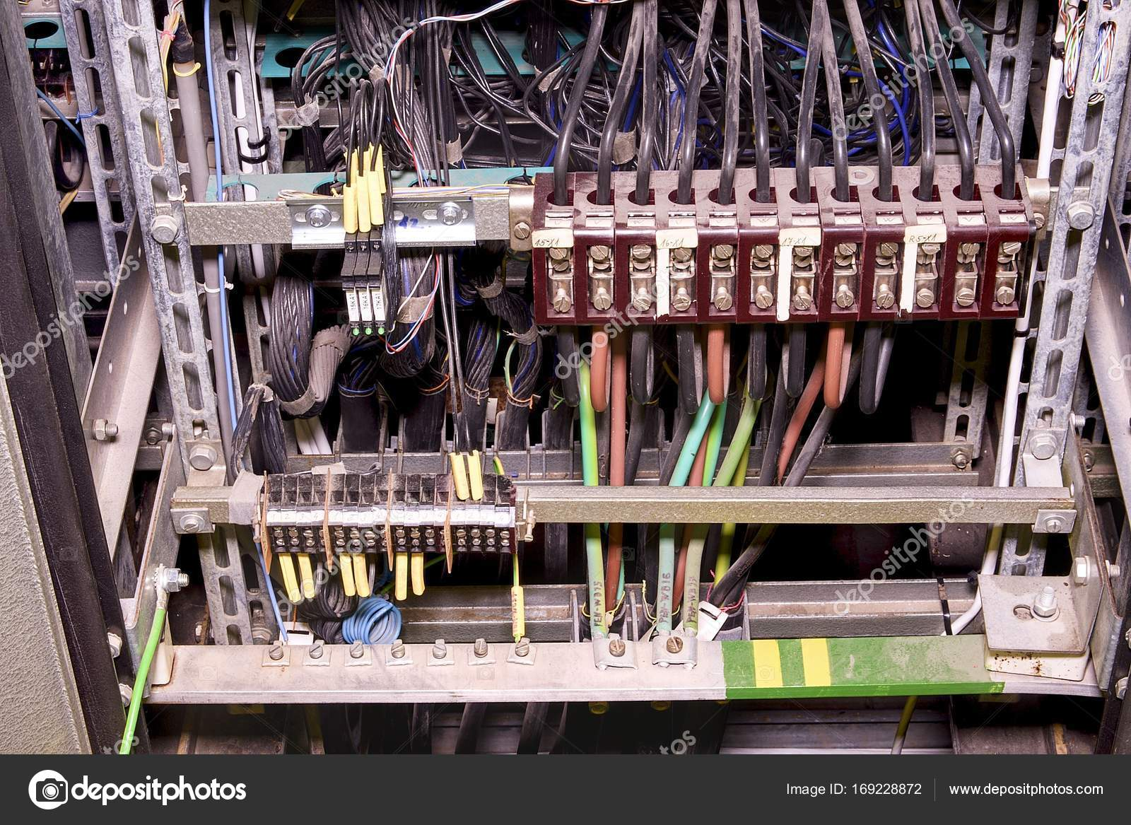 Closeup old distribution case in plant. Electric system in cabinet on