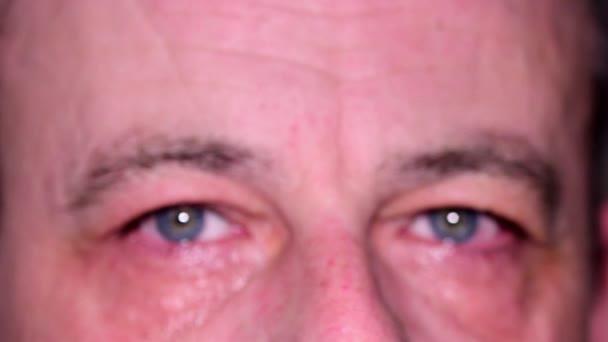 Oči člověka. Modré oči člověka. Detail. Nízká Dof
