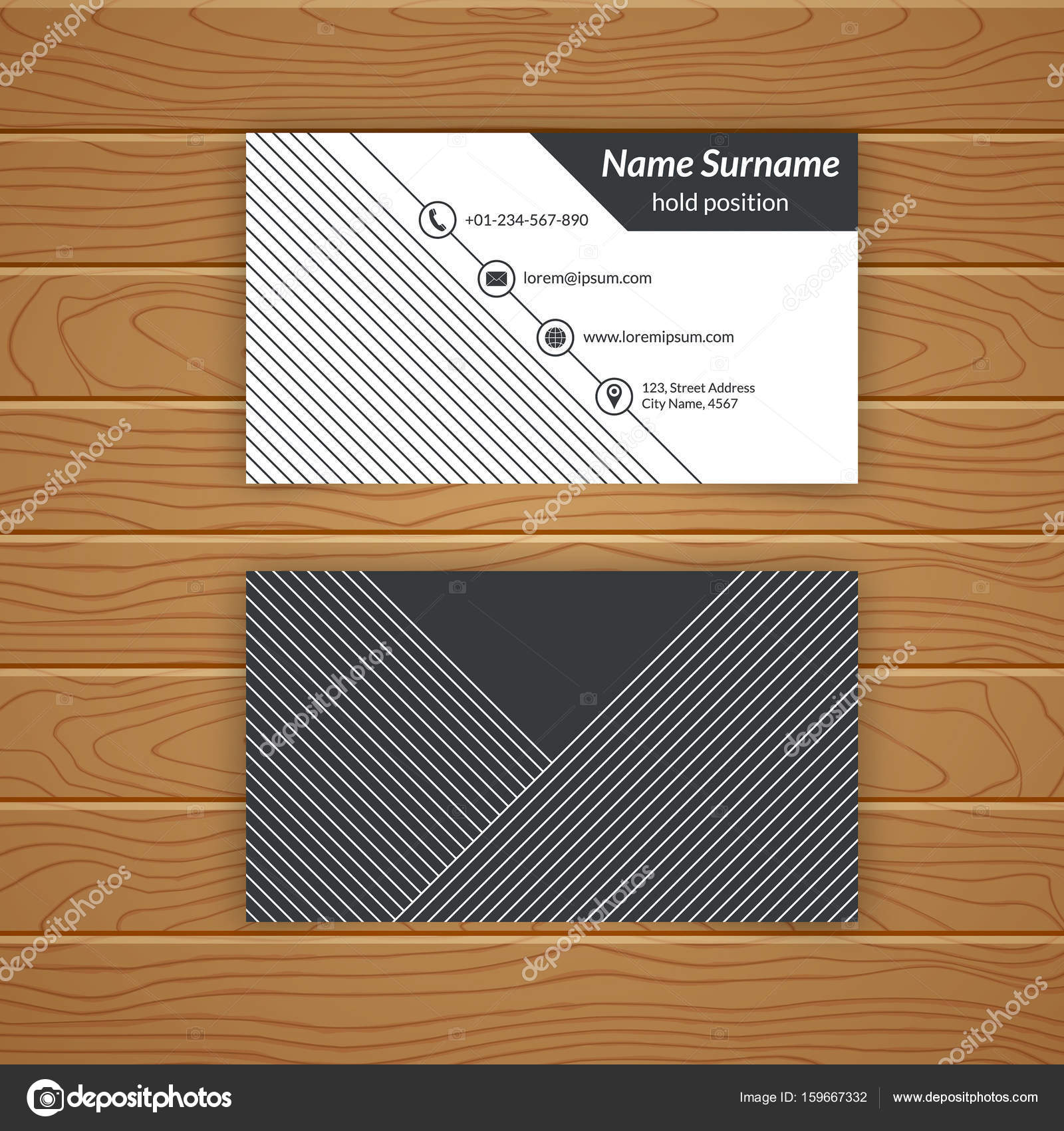 Business card blank template stock vector baretsky 159667332 business card blank template with textured background from thin diagonal lines minimal elegant vector design vector by baretsky accmission Gallery