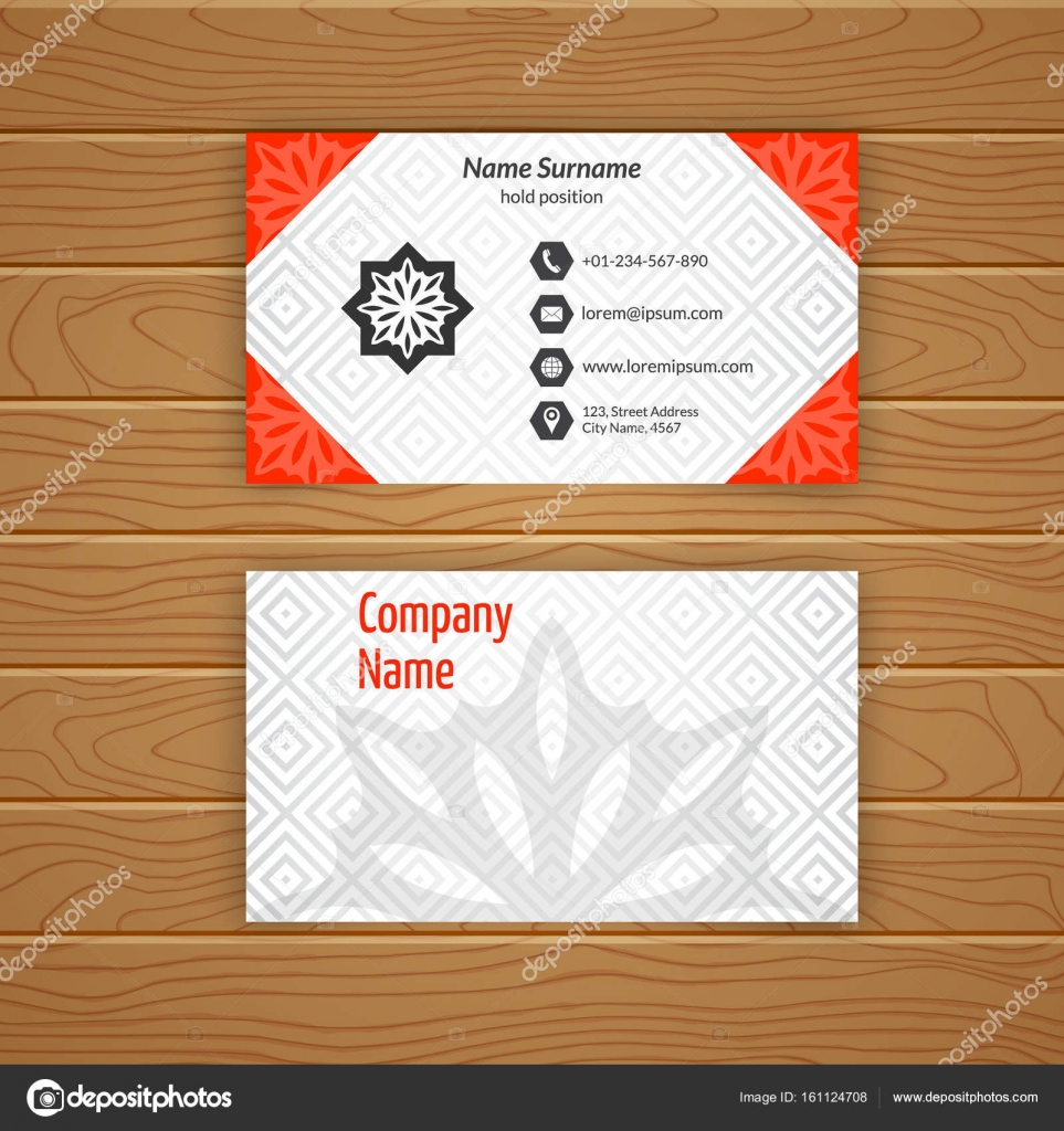 Business card blank template stock vector baretsky 161124708 business card blank template with textured background from diamond tiles minimal elegant vector design vector by baretsky friedricerecipe Choice Image