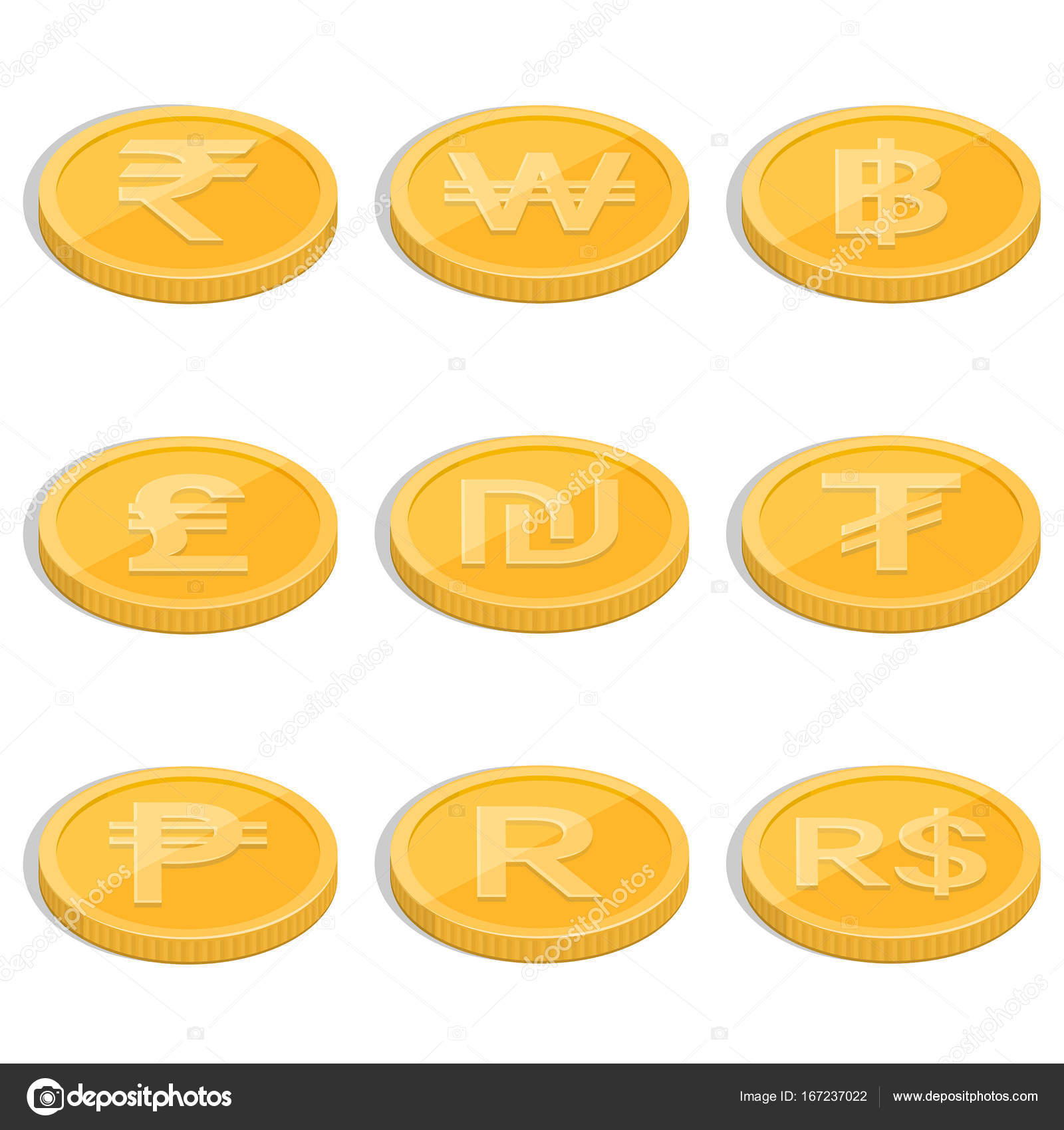 A set of coins stock vector baretsky 167237022 a set of coins of symbols of currencies of the countries of the world on the isolated white backgroundgns rupee baht lira shekel dollar tugrik buycottarizona