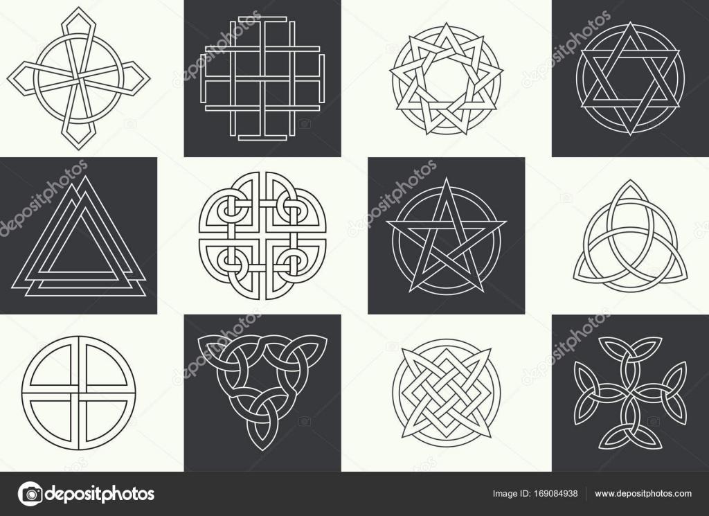 Set Of Ancient Symbols Stock Vector Baretsky 169084938