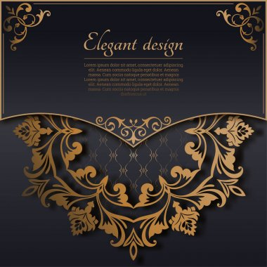 Vintage gold frame in Baroque style. Decorative ancient ornament. The card for invitations. A flower shape for the text. Vector illustrations. Design elements.