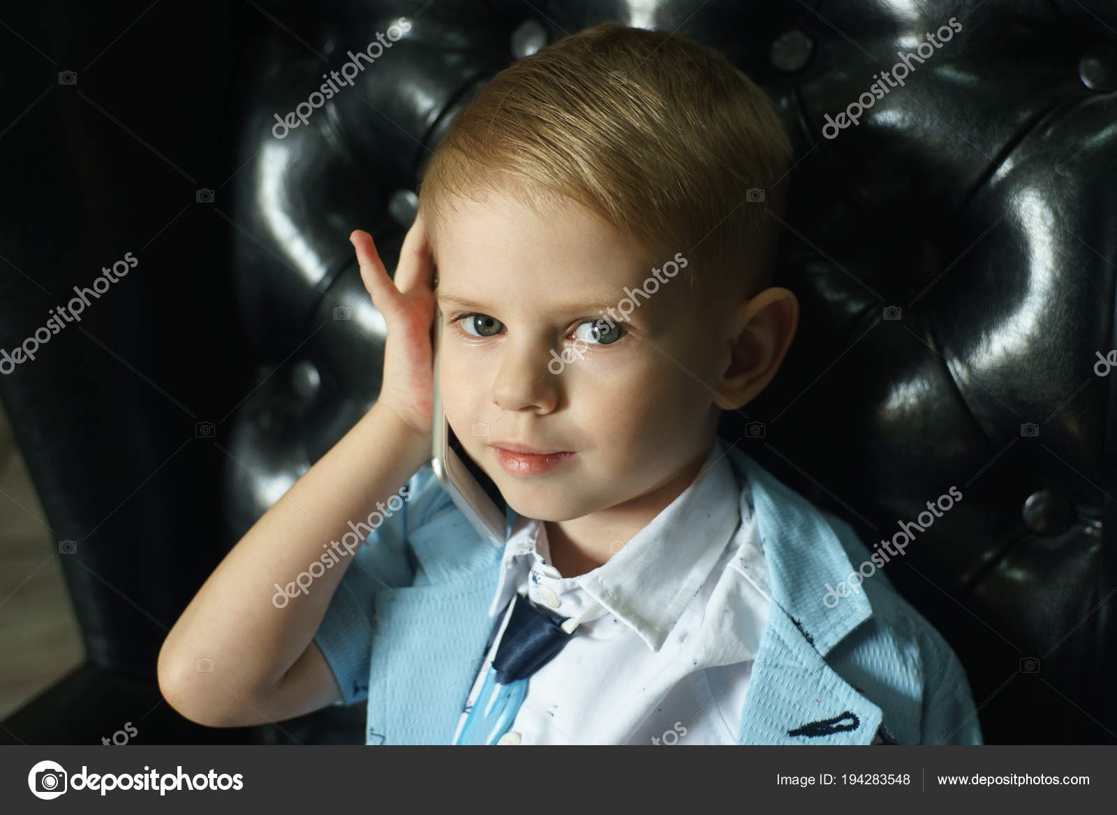 Little boy talking on the phone with copy space — Stock