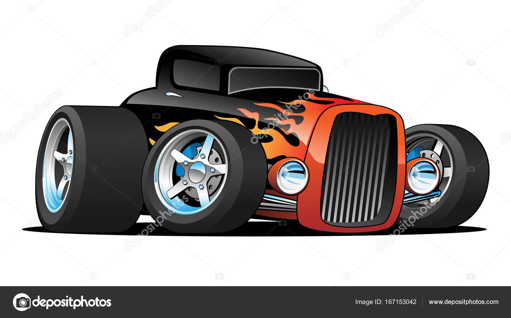 Hot Rod Classic Coupe Custom Car Cartoon Vector Illustration - Cool car cartoon