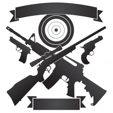 Crossed Hunting Rifle and Semi-Automatic Rifle with Pistols and Target plus Banners Vector Illustration