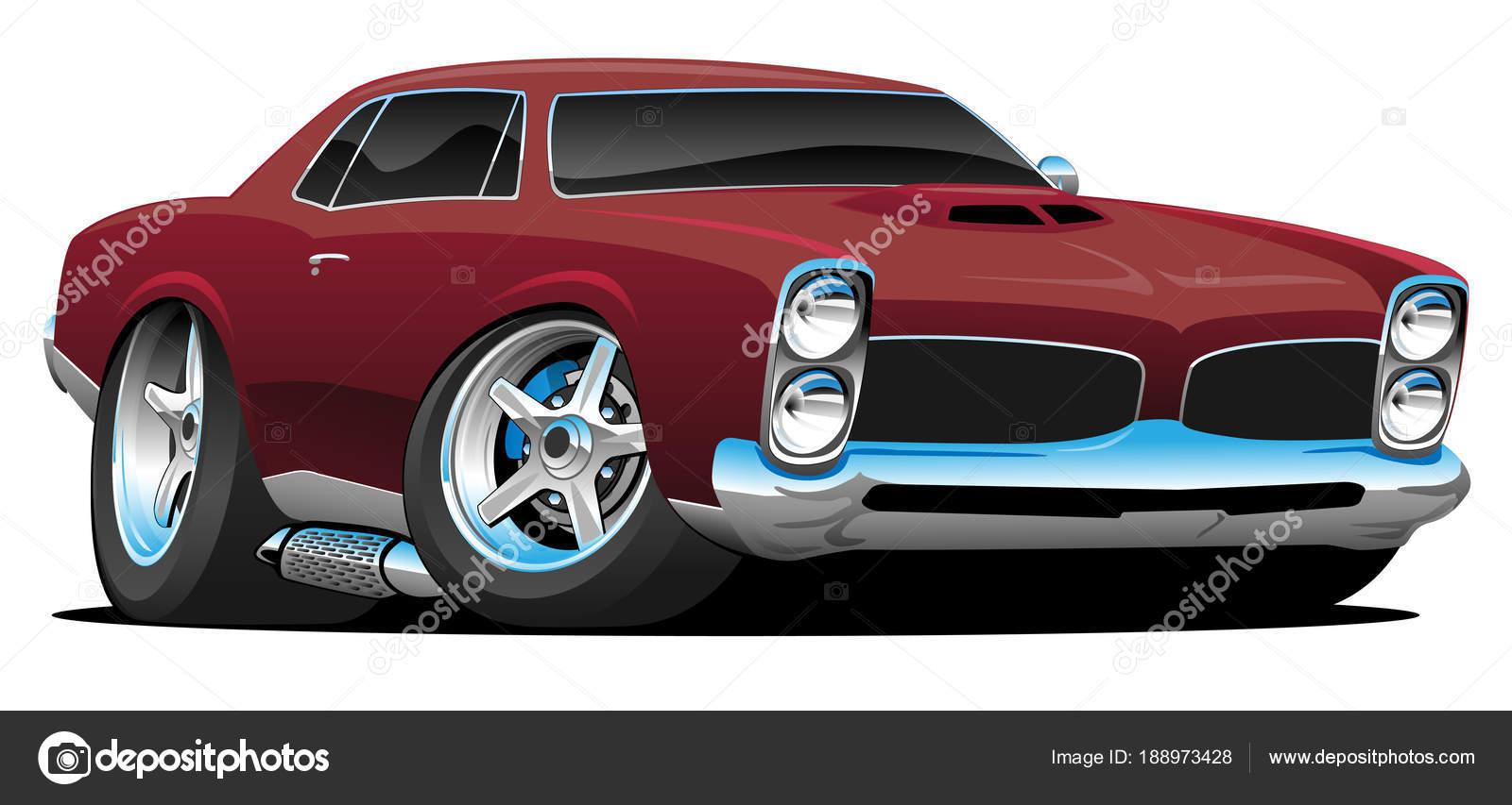 Classic American Muscle Car Cartoon Vector Illustration Stock