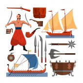Photo Vector set of Cossacks objects, icons and design elements in flat style. Cossack man, weapons, boats, drum