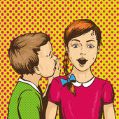 Fotografie Pop art retro comic vector illustration. Kid whispering gossip or secret to his friend. Children talk each other