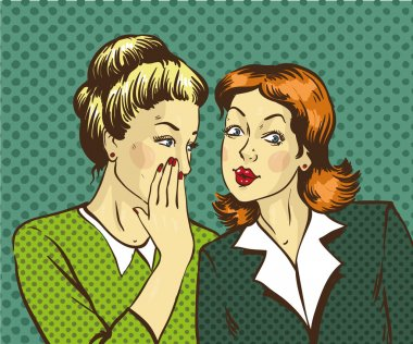 Pop art retro comic vector illustration. Woman whispering gossip or secret to her friend