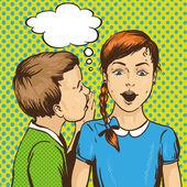 Fotografie Pop-Art-retro Comic-Vektor-Illustration. Kind flüstert Klatsch oder geheim zu seinem Freund. Kinder reden miteinander. Sprechblase