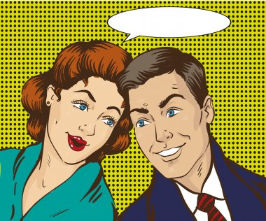 Vector illustration in pop art style. Woman and man talk to each other. Retro comic. Gossip, rumors talks