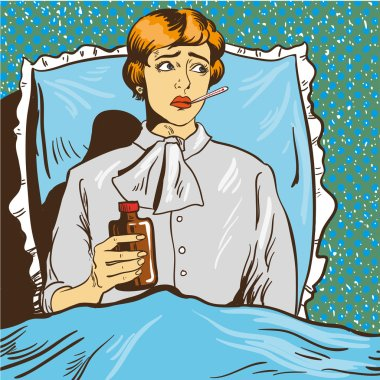 Sick woman with fever lie down on a bed in hospital room. Girl holds thermometer in her mouth. Vector illustration pop art comic style