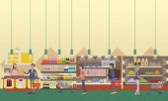 Fényképek Szupermarket belső vektoros illusztráció lapos stílusban. A(z) vásárolnak terméket élelmiszer áruház