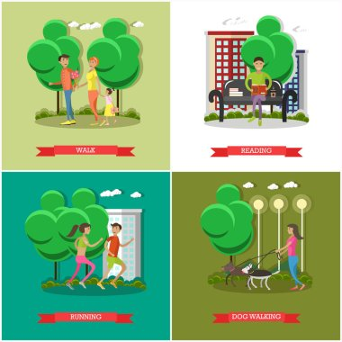 Vector set of cartoon character posters. People in park design elements and icons in flat style.
