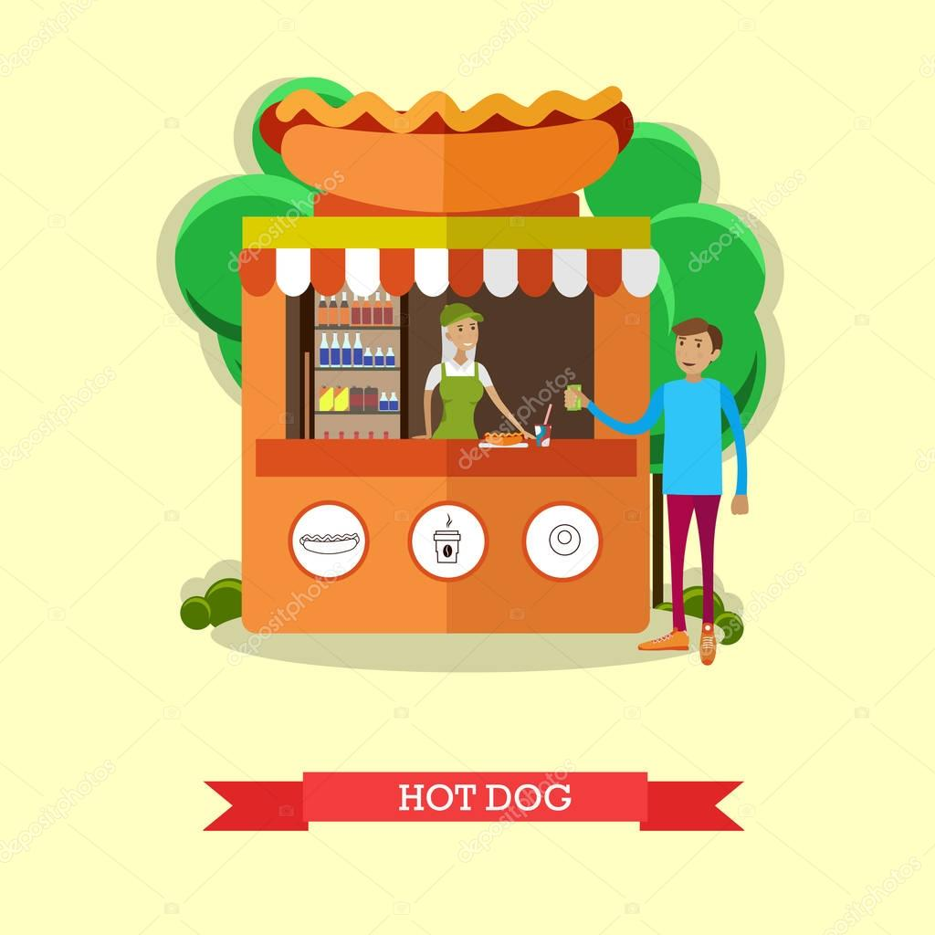 Hot dog stand concept vector poster  City street food business