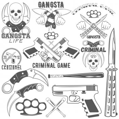 Collection of vector gang and criminal logotypes
