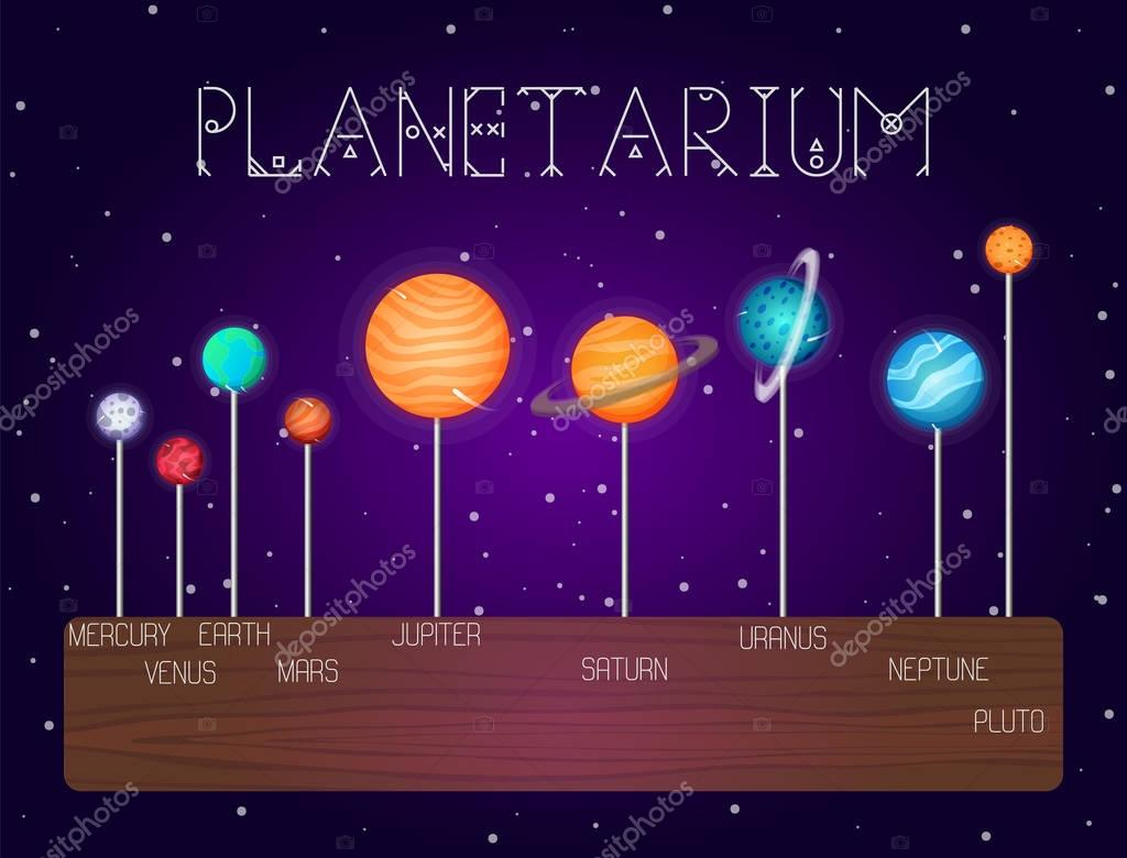 vector set of solar system planets in line cartoon style