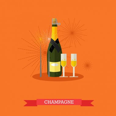 Champagne bottle and two glasses, flat design
