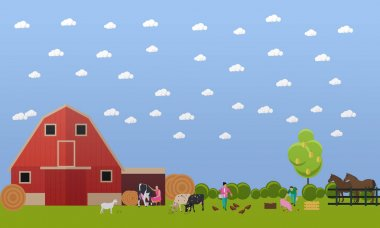Vector banner of big farm with lots animals