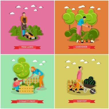 Vector set of gardening, agriculture, flat design