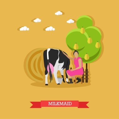 Milkmaid milking a cow, vector design