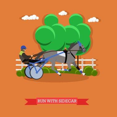 Harness horse racing, vector design